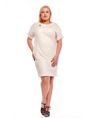 Elegancka pudełkowa sukienka z połyskującym efektem Plus Size
