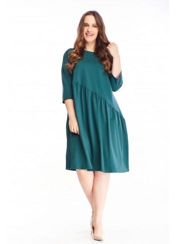 Sukienka midi oversize modna luźna uniwersalna PLUS SIZE