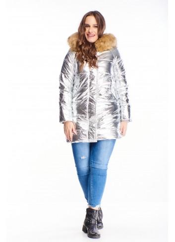 metaliczna kurtka z futrzaną podszewką