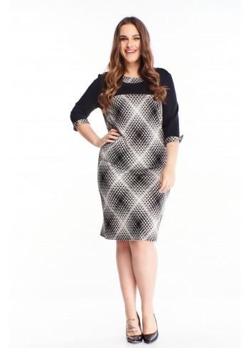 Wzorzysta sukienka midi do pracy duże rozmiary XXL