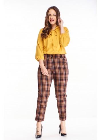 Eleganckie spodnie w kratkę na kant duże rozmiary XXL