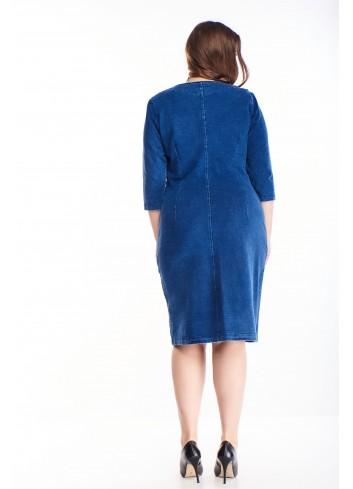 Sukienka z ozdobnym ekspresem i rękawem 3/4 dla puszystych