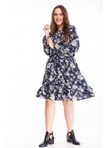 Zwiewna wzorzysta sukienka z długim rękawem PLUS SIZE