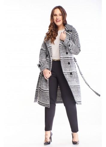 Modny ciepły płaszcz duże rozmiary XXL