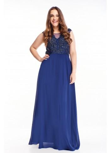 Sukienka maxi wieczorowa z tiulowym dołem duże rozmiary