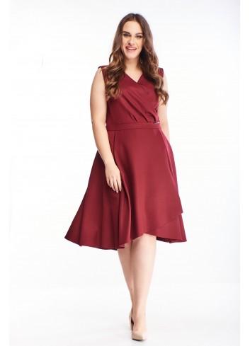 Rozkloszowana sukienka z kopertowym dekoltem na wesele XXL