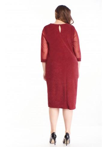 Brokatowa sukienka z tiulowymi rękawami midi XXL PLUS SIZE