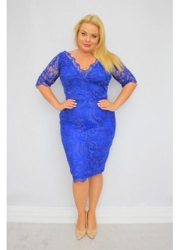 Piękna Sukienka ołówkowa ekskluzywna koronkowa Duże Rozmiary