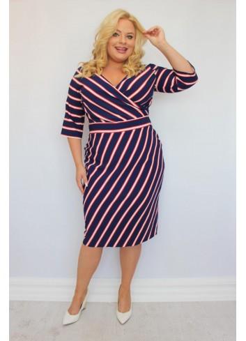 -20% PROMOCJA Sukienka ołówkowa do pracy w modne paski Plus Size