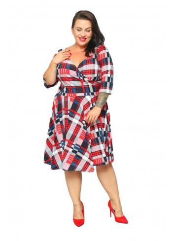 -20% PROMOCJA Sukienka rozkloszowana w kratkę Plus size r 44