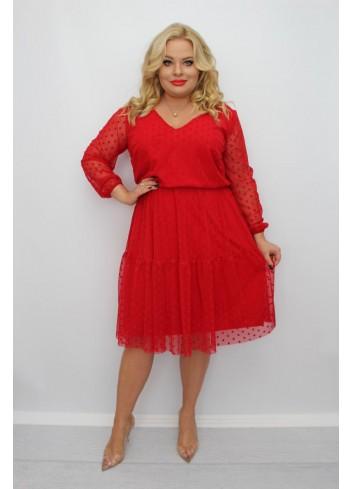 Stylowa czerwona sukienka midi wyjściowa Plus Size
