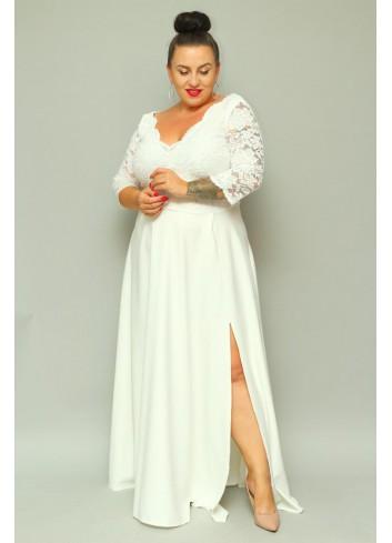 PROMOCJA -30%  Sukienka maxi wieczorowa z koronką Plus Size