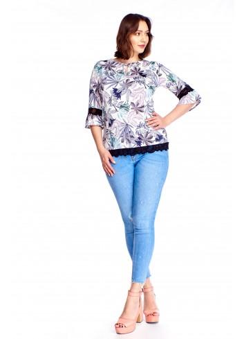 Wzorzysta bluzka z koronkowymi wstawkami Plus Size