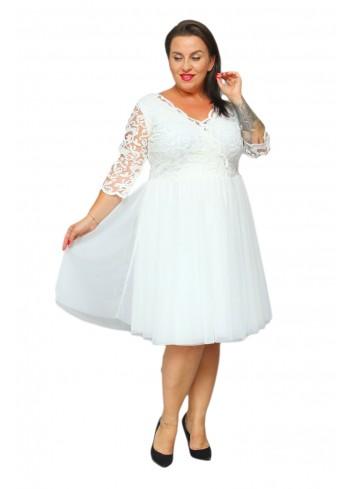 Promocja - 20% Ekskluzywna Sukienka rozkloszowana z tiulu Plus Size Listki