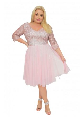 Ekskluzywna Sukienka rozkloszowana z tiulu r 46