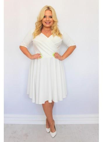 Sukienka na wesele rozkloszowana GŁADKA Plus Size
