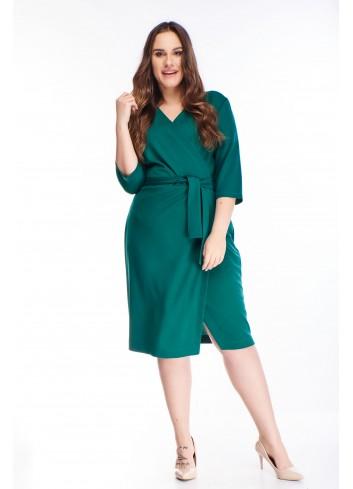 Bawełniana szlafrokowa sukienka z wiązaniem w pasie XXL