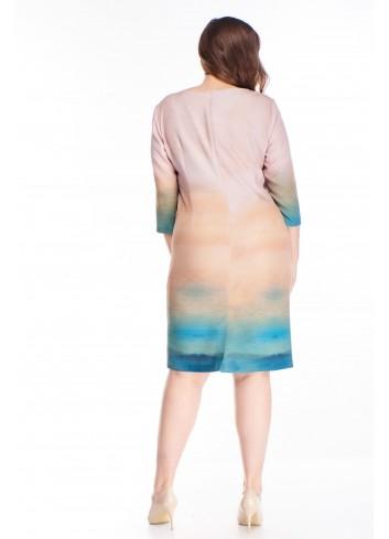 Wzorzysta sukienka z nadrukiem i rękawami 3/4 PLUS SIZE