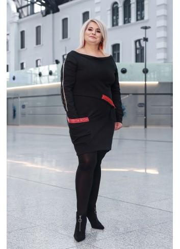 Bawełniana sukienka z wiązaniem w pasie dla puszystej XXL