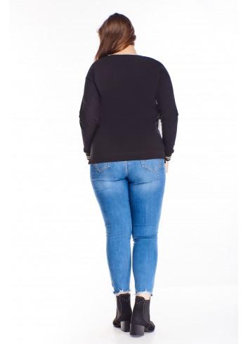 bawełniana bluzka z nadrukiem na biuście