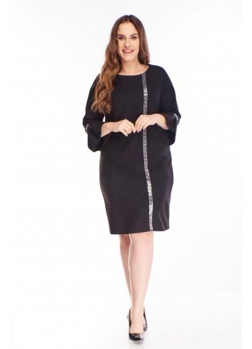 Sweterkowa sukienka z błyszczącym lampasem duże rozmiary