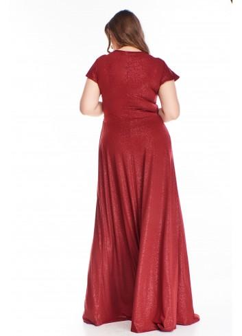 Brokatowa sukienka wieczorowa maxi elegancka bal PLUS SIZE
