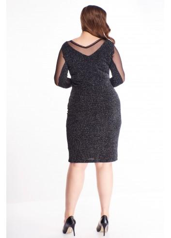 Dopasowana brokatowa sukienka z tiulowymi wstawkami XXL