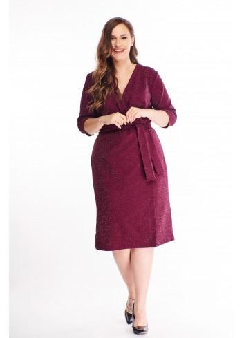 Brokatowa sukienka o kopertowym kroju z wiązaniem w pasie XL