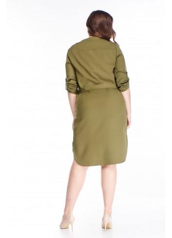 Sukienka o koszulowym kroju z wiązaniem w pasie PLUS SIZE