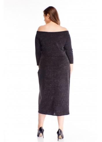 Brokatowa sukienka z odkrytymi ramionami hiszpanka PLUS SIZE