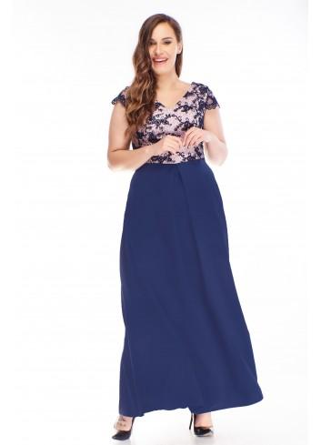 Sukienka wieczorowa maxi z haftowaną górą dla puszystych