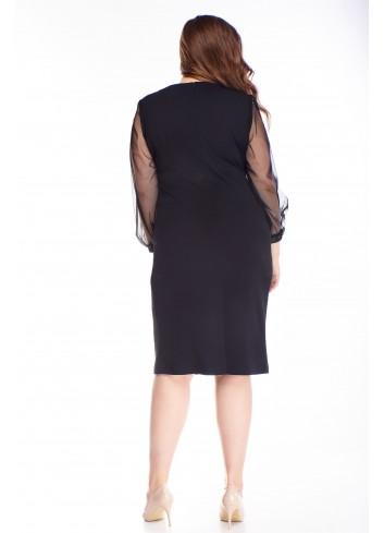 Brokatowa sukienka z tiulowymi rękawami PLUS SIZE