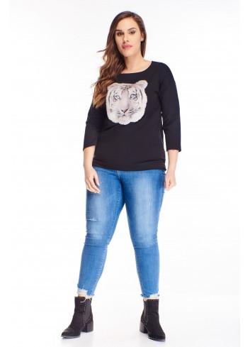 bawełniana bluzka z futrzaną naszywką na biuście