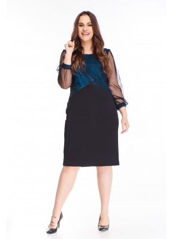 brokatowa sukienka z tiulowymi rękawami
