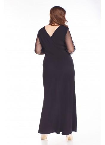 Sukienka maxi brokatowa góra i tiulowe rękawy PLUS SIZE