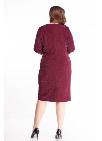Brokatowa sukienka z kopertowym dekoltem elegancka PLUS SIZE