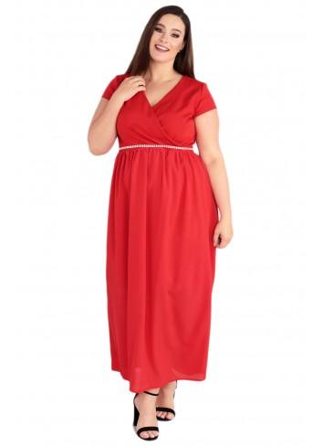 Sukienka Maxi MEZO duży rozmiar PLUS SIZE czerwona