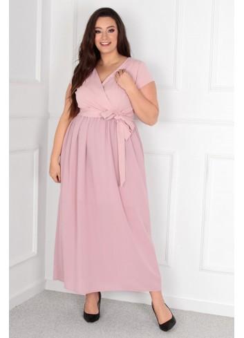 Sukienka Maxi MEZO duży rozmiar PLUS SIZE Brudny Róż na WESELE