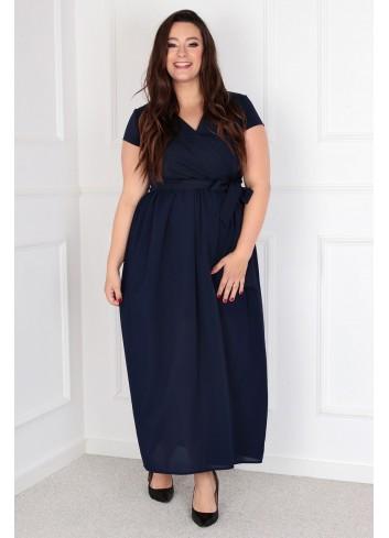 Sukienka Maxi MEZO duży rozmiar PLUS SIZE GRANATOWA XXL