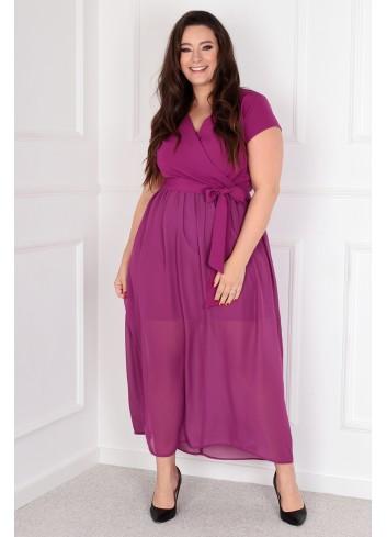 Sukienka Maxi MEZO duży rozmiar PLUS SIZE Fioletowa