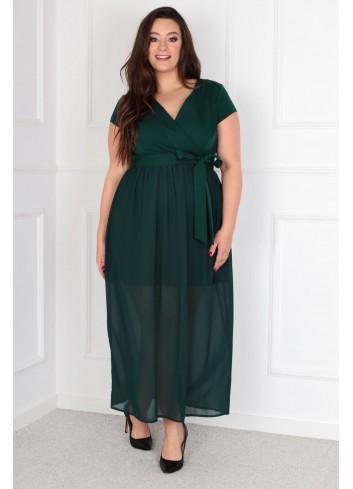 Sukienka Maxi MEZO duży rozmiar PLUS SIZE Zielona