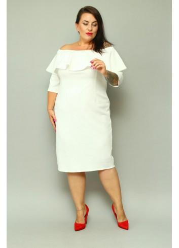 Promocja -20% Sukienka ołówkowa hiszpanka z falbaną dekolt carmen Plus Size