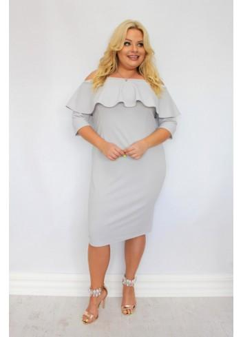 Sukienka ołówkowa hiszpanka z falbaną dekolt carmen Plus Size