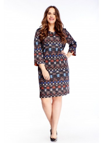 Wzorzysta sukienka z wiskozy z rękawem 3/4 dla puszystych