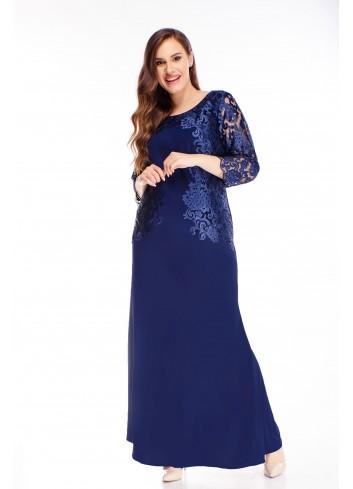 sukienka maxi z haftowaną górą