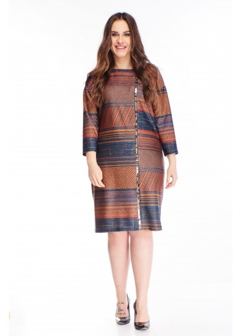 wzorzysta sukienka z brokatowym lampasem