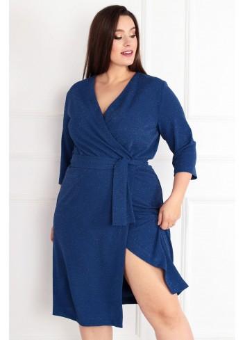 Sukienka Voxi SHINE szlafrokowa midi Plus Size classic blue niebieski