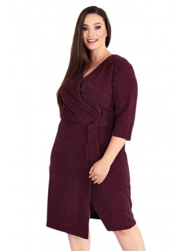 Sukienka Voxi SHINE szlafrokowa midi Plus Size bordowy oberżyna