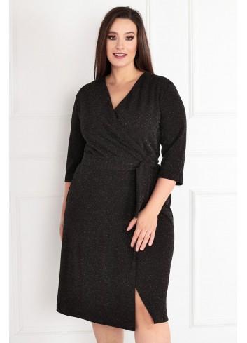 Sukienka Voxi SHINE szlafrokowa midi Plus Size czarny