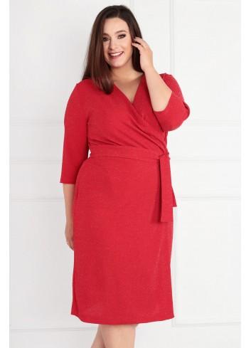 Sukienka Voxi SHINE szlafrokowa midi Plus Size czerwony